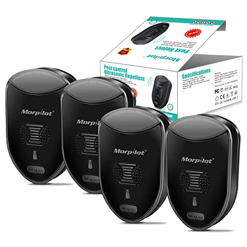 morpilot M-2Ultrasonic Pest Repeller ,4 Pack, Indoor Pest Control Electronic Plug in, Get Rid of - Rodents Squirrels Mice Rats Insects - Roaches Spiders Fleas Bed Bugs Flies Ants Fruit Fly!