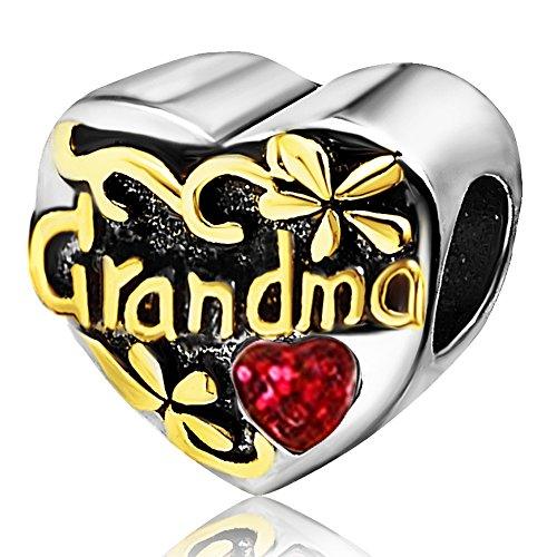 JMQJewelry Grandma Grandmother Heart Love Red Birthday July Birthstone Charms for Bracelets Women Mom Sister Wife Jewelry