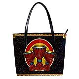 LORVIES African Music Djembe - Bolso bandolera de piel sintética y bolso de mano para mujer