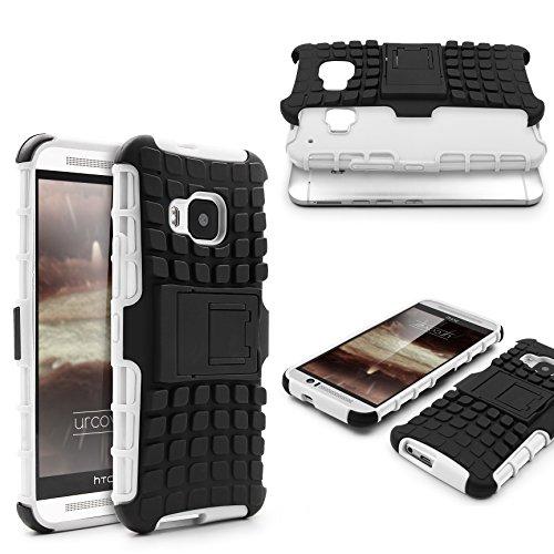 Urcover® Armor Outdoor Hülle kompatibel mit HTC One M9 Shockproof Tasche Schutzhülle Hülle Cover TPU Flexibel Stoßfest Standfuß Weiß