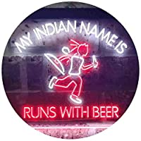 Indian Name is Runs with Beer Bar Dual Color LED看板 ネオンプレート サイン 標識 白色 + 赤色 600 x 400mm st6s64-i3514-wr