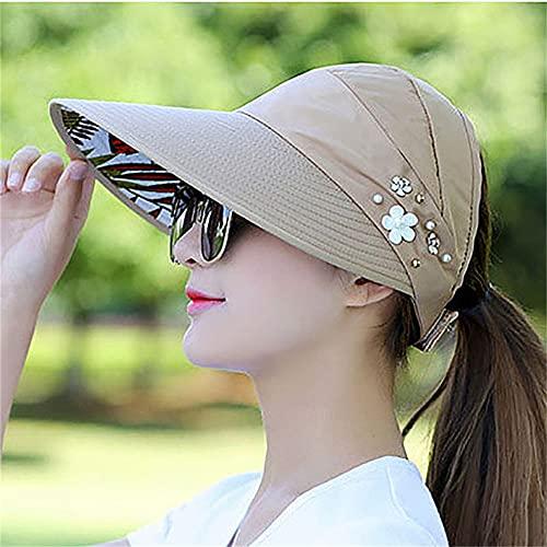 Sombreros de Verano para Mujer, Sombrero de Sol Plegable, Visera de Flor de Perla, Gorra de Disquete con protección Solar, Gorra de béisbol Informal para Mujer al Aire Libre-Khaki