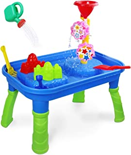 Water Sand Table 2 in 1 Sand Tray Box Water Toys with Molds Shovel Rake Water Can Indoor Activity Center Beach Outdoor Gift for Kids Toddlers Boys Girls Age 3 4 5 6 Year Old