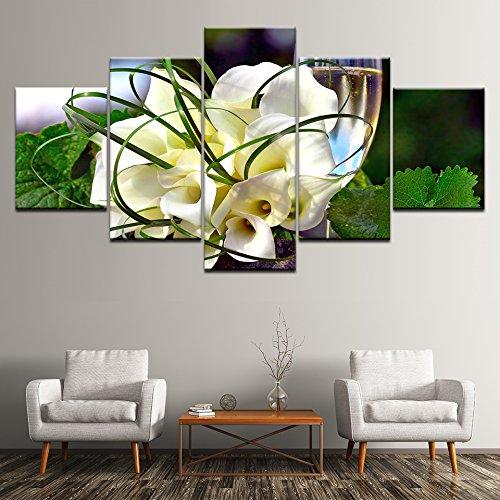 WMWSH Druckplakat Leinwand Wandbilder Dekoration Calla-Lilien Kunst Ölgemälde Modulare Bilder An Der Wand Wohnzimmer 5-TLG Kombination Wandmalerei