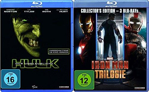 Der unglaubliche Hulk + Iron Man Trilogie (1-3) im Set - Deutsche Originalware [4 Blu-rays]