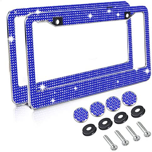 Gioyonil 2 Pack License Plate Frames Stainless Steel Handcrafted Sapphire Bling Rhinestone Car product image