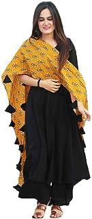Monika Silk Mill Women's Rayon Plain with Printed Dupatta Semi Stitched Plazzo Style Salwar Suit (Black Color_MSAM508)