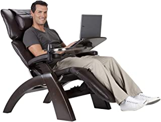 Perfect Chair Human Touch PC-610 Omni-Motion Power Dark Walnut Zero-Gravity Recliner + Laptop Personal Computer Desk Table - Gray Premium Leather