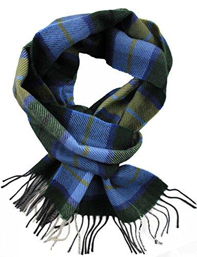 Rotfuchs Schal Karo modisch Mehrere Farbstellungen Wolle 180 x 30 cm Made in Germany (30 x 180 cm, grün blau beige)