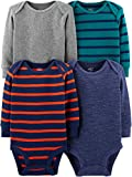Simple Joys by Carter's Boys' 4-Pack Soft Thermal Long Sleeve Bodysuits, Grey Heather/Blue Heather/Stripes, 12 Months