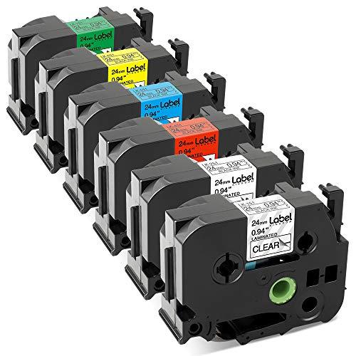 Label KINGDOM Compatible Label Tape Replacement for P-Touch 24mm TZe251 TZe151 TZe451 TZe551 TZe651 TZe751, 1 Inch TZ Tape, Compatible with PT-2730 PT-D600 PT-P700 PT-P950NW Label Maker, 6-Pack
