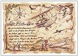 Die Staffelei Geschenk Pilot Piloten Flugzeugführer Flugzeug Gedicht Zeichnung Color 30 x 21 cm -