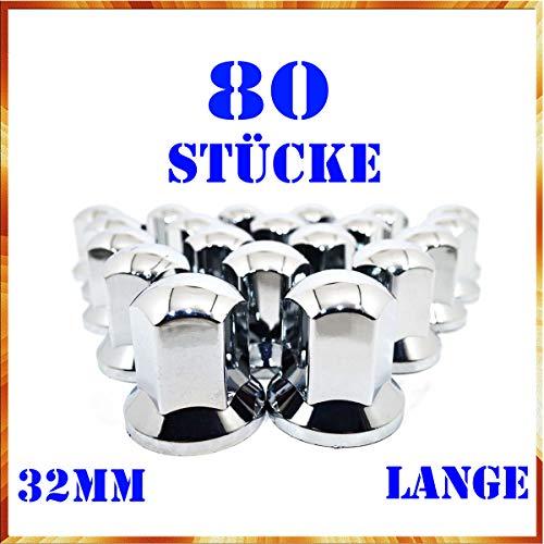Easy Link 80 x Lange 32mm Radkappen Chrom Radmutterkappen Radmutterschutz Kunststoff SW LKW Anhänger