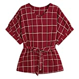 Milumia Women's Casual V Neckline Short Sleeve Self Tie Dressy Work Blouse Tunic Tops Red Plaid X-Small