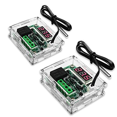KeeYees 2 Stücke LED Digital Thermostat DC 12V - W1209 Heizen/Kühlen Temperierschalter Modul mit Wasserdicht 50~110°C Sensor Sonde + Transparent Acrylic Gehäuse