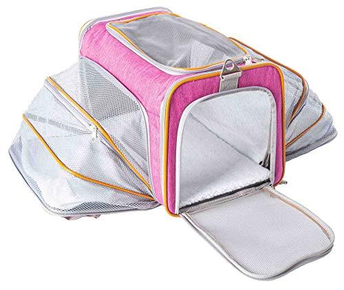 ABISTAB Hundebox faltbar Transportbox Hunde und Katze Transporttasche für Auto- und Flugreisen geeignet Tragetasche Maxi 72cm zweiseitig ausklappbar mit Langer Shultergurt:5-Pink-Orange