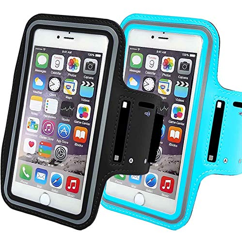 2Pack Phone Armband Sleeve Best Running Sports Arm Band Strap Holder Pouch Case Gifts Exercise Workout Fits iPhone 6 6S 7 8 X XR XS MAX Plus iPod Android, Galaxy S8 S9 Note 5 9 Edge-Black+SkyBlue