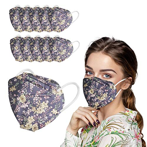 Koippimel 10/20/50pcs, Floral PrintedDisposable Face_Masks for Women Men, 5-Layers Non-Woven Breathable_Mask for Adults Safety_Protection, 0123-119