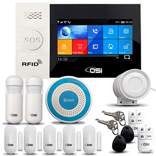 【OSI Wireless WiFi Smart Home Security DIY Alarm SYSTEM-14 Piece】 DIY Home Wi-Fi Alarm Kit with Motion Detector,Notifications with app,Door/Window Sensor, Siren,Compatible with Alexa,NO Monthly Fees