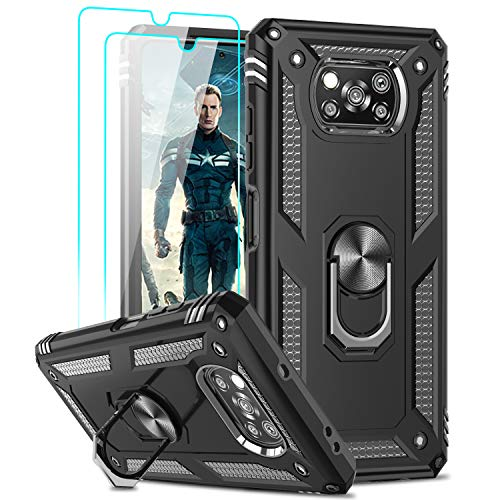 LeYi Hülle für Xiaomi Poco X3 Pro/Poco X3 NFC mit Panzerglas Schutzfolie(2 Stück),360 Ring Halter Handy Hüllen Cover Bumper Schutzhülle für Hülle Xiaomi Poco X3 NF/Poco X3 Pro Handyhülle Schwarz