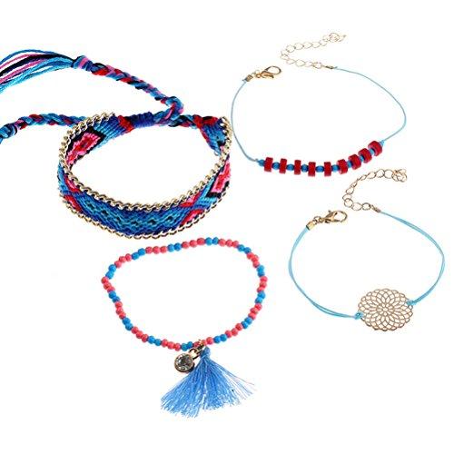 FENICAL Las pulseras tejidas de Bohemia de 4PCS fijaron las pulseras de los encantos de la borla para las señoras de las muchachas de las mujeres (azul)