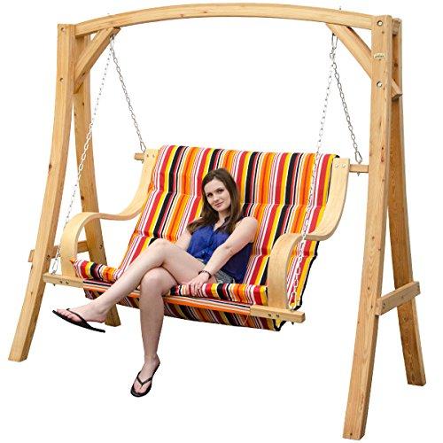 Hollywoodschaukel aus Holz Lärche Gartenschaukel Set Holzgestell mit 2-sitzer Bank aus Stoff Bunt gestreift Für Innen und Außen