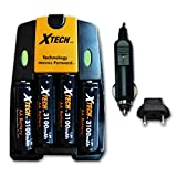 4 AA High Capacity NiMH Rechargeable Batteries 3100mAh Plus AC/DC Quick Charger for Canon PowerShot SX10 is