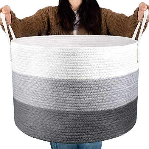 COSYLAND Baumwollseilkorb Wäschekorb Geflochtener Korb Decke Korb Aufbewahrungskorb mit Griff für Decken Kissen und Spielzeug Wohnzimmer Boden Kinderzimmer S5