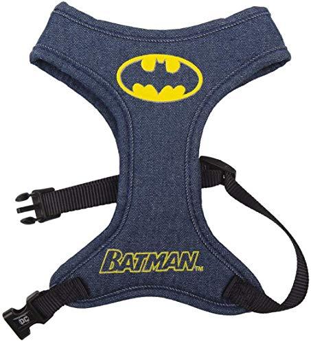 D C Comics Batman Hundegeschirr, Leichte, Atmungsaktive, Gepolsterte Netzweste für Haustiere, Gehorsam für Haustiere im Freien, Hundegeh und Welpentrainingsgeschirr, Größen XXS bis L (Denim, XXS/XS)