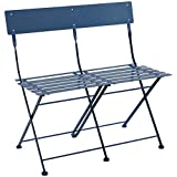 <span class='highlight'>Charles</span> <span class='highlight'>Bentley</span> 2 Seater Folding Metal Bistro Bench Garden Seat Chair - Navy