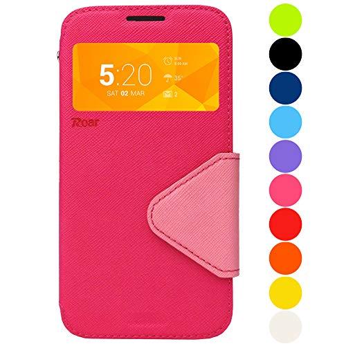 Roar Premium Hülle für Sony Xperia Z1 Compact Handyhülle, Flip Hülle Schutzhülle Tasche Hülle für Sony Xperia Z1 Compact, Klapphülle mit Fenster in Pink Rosa