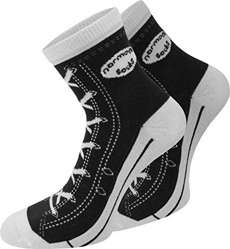 normani 4 Paar Baumwoll Socken im Schuh - Design Farbe Schwarz Größe 43/46
