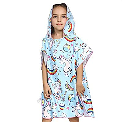 eccbox Toddler Hooded Beach Towels for 1 to 6 Years Old, Kids Bath Pool Swim Poncho Cover-ups Cape, Extra Large 26x50, Ultra Breathable and Soft for All Seasons, Unicorn Theme