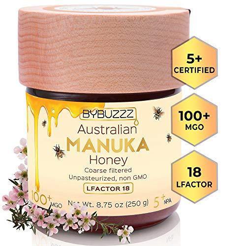 100% Raw Manuka Honey NPA 5+ (UMF) MGO 100+ LFACTOR 18+, Organic Non GMO Superfood, Certified Australian Medicinal Honey for Skin, First Aid, Food - Unpasteurized Monofloral Honey 8.8 oz