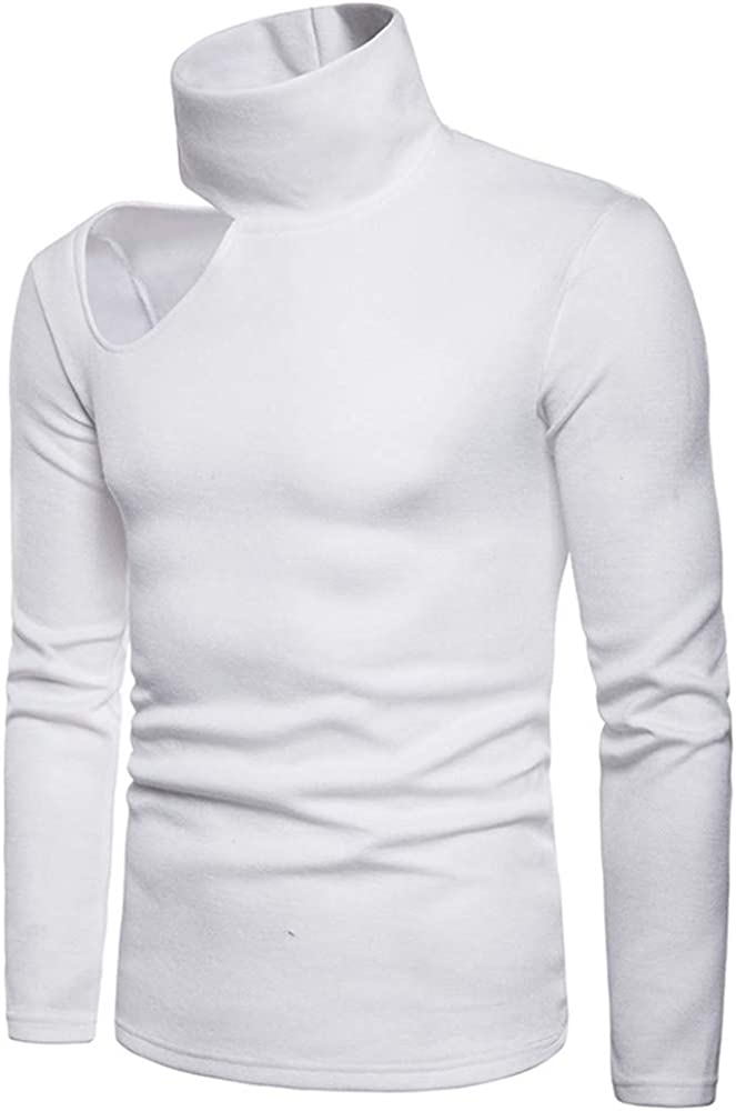 Men'S Knitted Pullover High Collar Off-The-Shoulder Solid Color Sexy