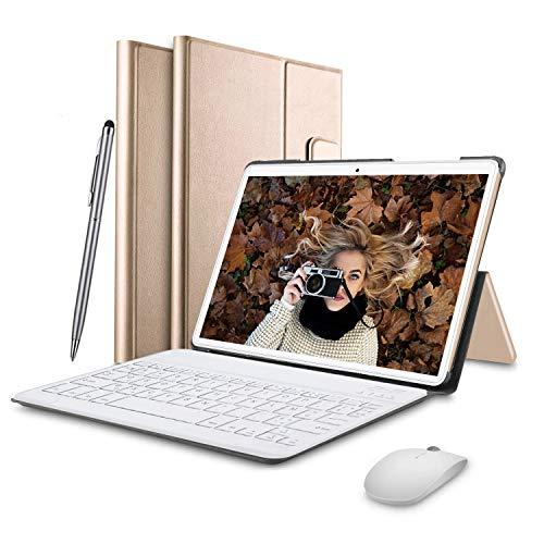 Tablet 10 Pulgadas 4G FHD 64GB de ROM 4GB de RAM Android 9.0 Certificado por Google GMS Tablet PC Procesador de Quad Core Batería 8500mAh Dual SIM 8MP Cámara WiFi, Bluetooth, GPS, OTG(Oro)