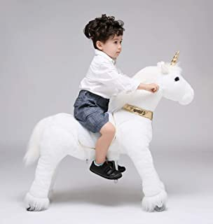 UFREE Ride on Unicorn Toy, Walking Unicorn Mechanical Pony, Soft Plush Fur Unicorn Toy with Golden Horn, Unicorn Rocking Horse Gift for 4-9 Years Old Girls