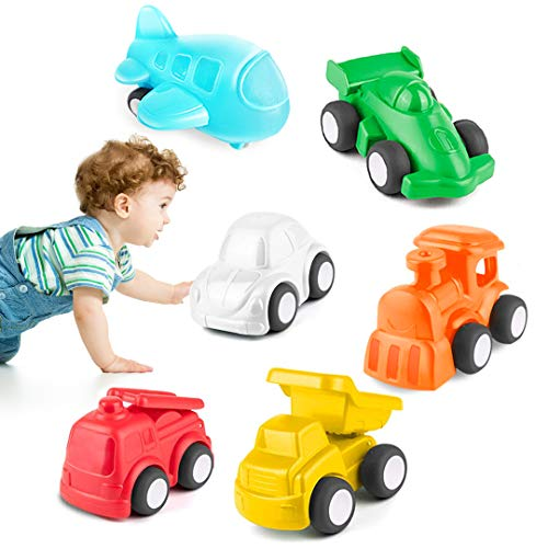 HISTOYE Toddlers Cars Toy Trucks for 2 3 4 5 6 Year Old Boy & Girls, 6 Pack Pull Back Cars for Toddlers, City Traffic Little Play Vehicles for Baby