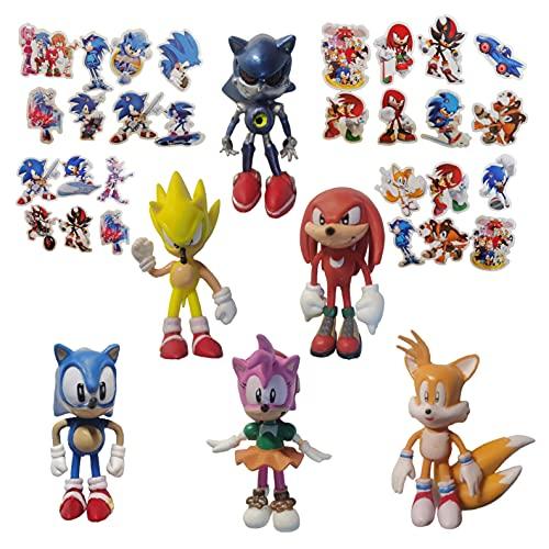 Pequeña figura de Sonic 6 unids / lote 1.5 pulgadas Sonic theme party supplies cumpleaños erizo regalos de fiesta vestir personajes de dibujos animados accesorios regalos regalos para niños y niñas