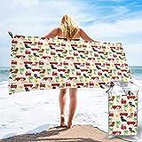 FLDONG Toalla de secado rápido Basset Hound Dog Summer Bus Palm Tree Print Toalla de baño de microfibra, ultra suave y compacta, adecuada para camping, gimnasio, playa, hogar, 81.5 x 163 cm