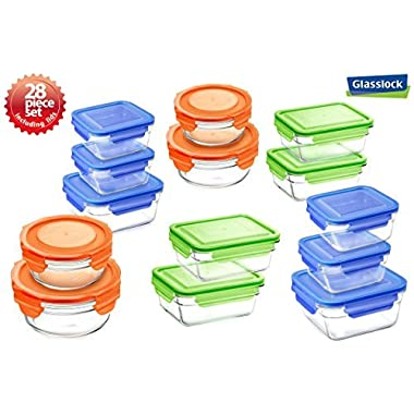 Snaplock Lid Tempered Glasslock Storage Containers 28pc set Combo with assorted color of lids - Microwave & Oven Safe Spill Proof
