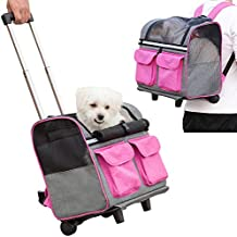 Pettom Pet Rolling Carrier Backpack Dog Wheel Around Cat Luggage BagPet Travel Carrier (Large-Hold Pets up to 17 lbs, Rose)