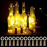 Zenoplige 12 Stück LED Flaschenlicht, 20 LEDs 2M Flaschenlichter Lichterketten Weinflasche Flaschenlicht, Batteriebetriebene für Flasche DIY,Weihnachten,Hochzeit, Party, Romantische Deko-Warmweiß
