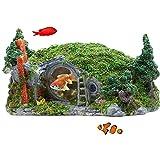 Hobbit House Aquarium Ornament Hügellandschaft Fairy Loch Aquarium Dekoration Hideout Hideaway...