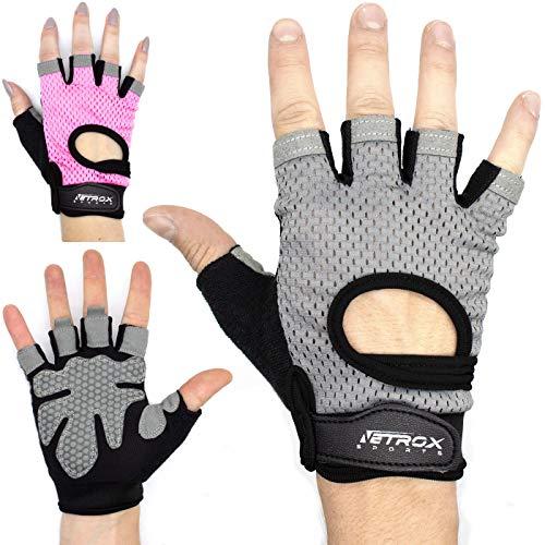 Netrox Trainings Handschuhe Fitness Handschuhe Sport Handschuhe Trainingshandschuhe Fitnesshandschuhe Sporthandschuhe Handschuh Home Zuhause Workout (grau, S)