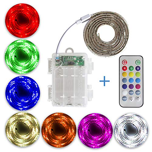 SUMAITEC Waterproof LED RGB Strip Lights with Battery Box, Multi-Color with Remote Control, Battery Powered, Length to Select: 50cm/ 1m/ 2m, for Home and Outdoor