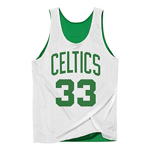 Mitchell & Ness NBA - Canotta reticolata Reversibile Boston Celtics Larry Bird #33, Bianco/Verde Verde XXL