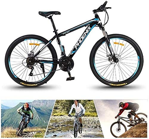 HCMNME Durable Bicycle, High Timber Youth and Adult Mountain Bike, Aluminum and Steel Frame Options, 24 Speeds, 24/26-Inch Wheels, Disc Brake Bicycle, Trail Bike High Carbon Steel Bicycle (Colo