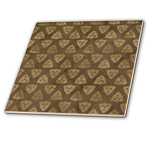 3dRose Anne Marie Baugh - Patterns - Brown and Image of Gold Celtic Knot Triangle Pattern - 6 Inch Ceramic Tile (ct_323125_2)