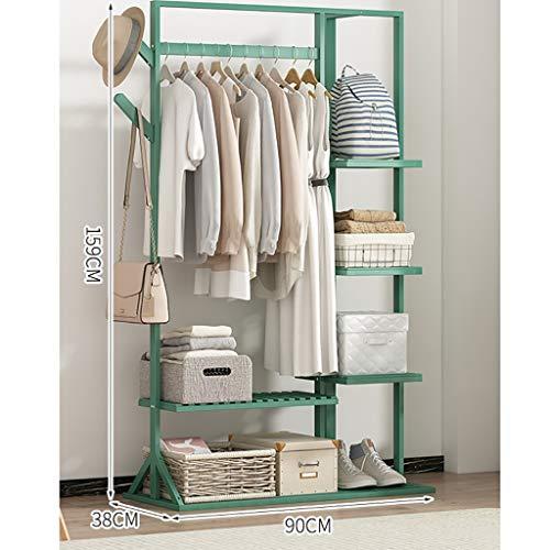 Durable Rack de ropa de madera de un solo riel con 6 perchas de la capa de soporte de árbol de gancho de lado, suspensión independiente con estante de almacenamiento de 4 niveles, utilizado en el pasi
